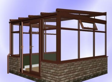 Lean To Conservatory finished in mahogany