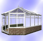 Hipped Victorian Conservatory with Dwarf Wall