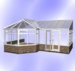 P-Shaped Victorian Conservatory with Dwarf Wall